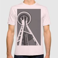 Space Needle Mens Fitted Tee Light Pink SMALL