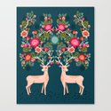 Deer with Flowers by Andrea Lauren  Canvas Print