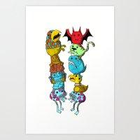 Chicken Fight! Art Print