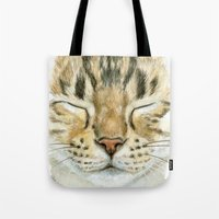 Sleeping Tabby Cat  830 Tote Bag
