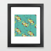 Flower hearts pattern Framed Art Print