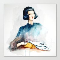 Girl with Crocodile Skull Canvas Print