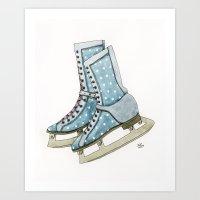 Polka dot ice skates Art Print