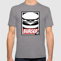 Obey Burger Mens Fitted Tee Tri-Grey SMALL