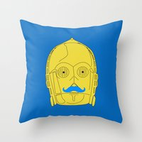 Droid stache Throw Pillow