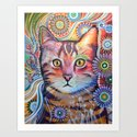 Olivia ... abstract cat art Art Print