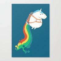 Fat Unicorn On Rainbow J… Canvas Print