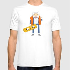 Marty McFinn & Jake the Hoverboard Mens Fitted Tee White SMALL