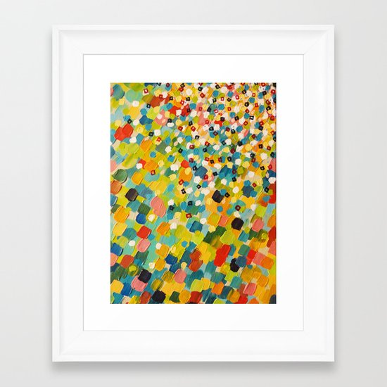 SWEPT AWAY 3 - Fresh Green Colorful Rainbow Ocean Waves Mermaid Splash Abstract Acrylic Painting Framed Art Print