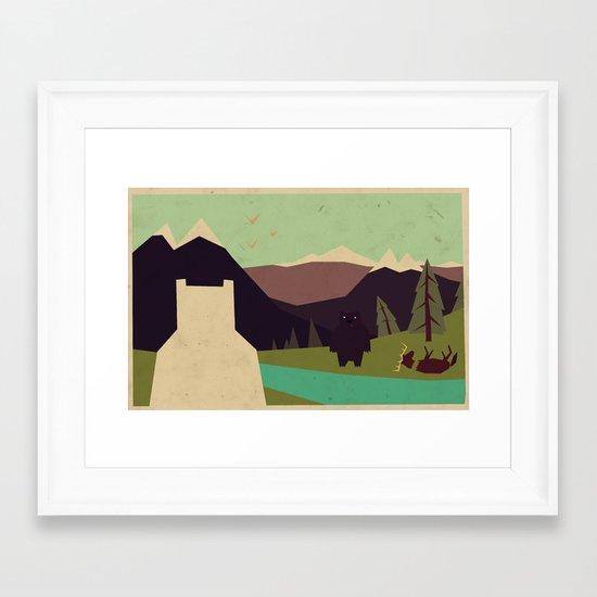 Bear's got to eat Framed Art Print