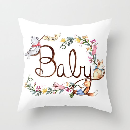 Hello Baby Throw Pillow