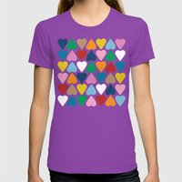 Up And Down Hearts On Gr… Womens Fitted Tee Ultraviolet SMALL