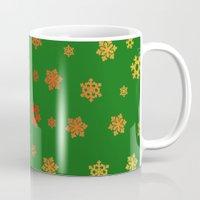 Snowflakes (Red & Gold on Green) Mug