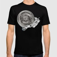 Troubled Moons and Spacemen Mens Fitted Tee Black SMALL