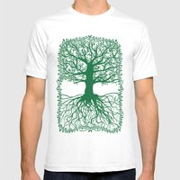 Oak Tree Mens Fitted Tee White SMALL