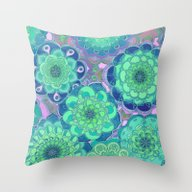 Fantasy Flowers In Mint … Throw Pillow