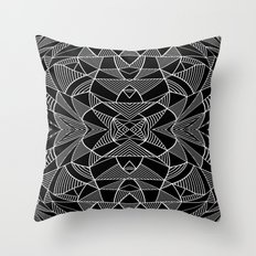 Abstraction Lines Mirrored White on Black Throw Pillow