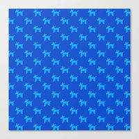 Dogs-Blue Canvas Print