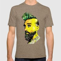 GREEN BEARD Mens Fitted Tee Tri-Coffee SMALL