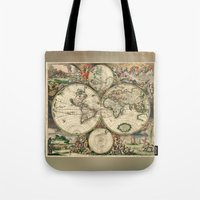 Old Map Of World Hemisph… Tote Bag