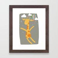 giraffe in the rain Framed Art Print