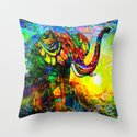 """"""" The old elephant knows where to find some water. """" Throw Pillow"""