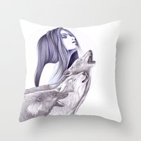 Call Of The Wolves Throw Pillow