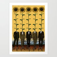 Sunflowers In Suits Prin… Art Print