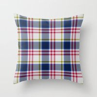 Plaid Navy Blue And Red Throw Pillow