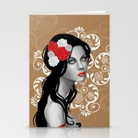Goth Girl with Flowers in her Hair Stationery Cards