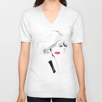 Woman with red lips Unisex V-Neck