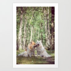 give us a peck! the two fellow dogs Art Print