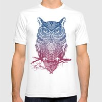 Evening Warrior Owl Mens Fitted Tee White SMALL