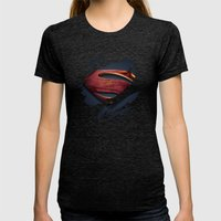 Man of Steel Womens Fitted Tee Tri-Black SMALL