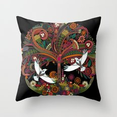 tree of life black Throw Pillow