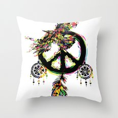 Peace dream cather Throw Pillow