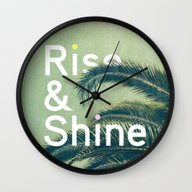 Wall Clock featuring Rise & Shine by Anna Dorfman
