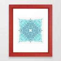 Teal Tangle Square Framed Art Print