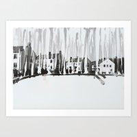 Dribbling Houses Art Print