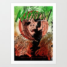 Mastodon Live in Berlin in Green and Red Art Print