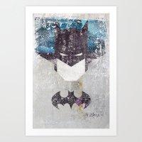 Bat Grunge Superhero Art Print