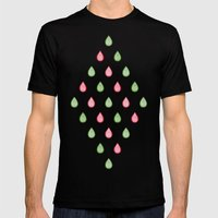 Pink and green raindrops Mens Fitted Tee Black SMALL