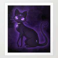 Purple Eyed Cat Art Print