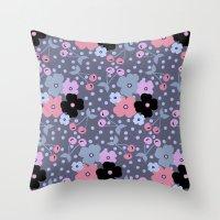 Gray Cherry Throw Pillow