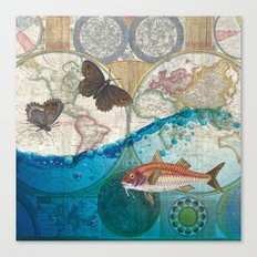 Fish And Butterflies Canvas Print