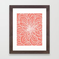 Abstract Flower Coral Framed Art Print
