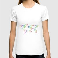 world map T-shirts featuring World map by David Zydd