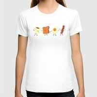 funny T-shirts featuring Let's All Go And Have Breakfast by Teo Zirinis