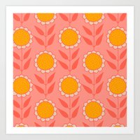 Retro Bloom Light 8 Art Print