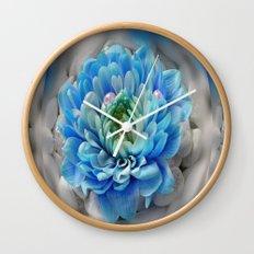 3d blue flower Wall Clock